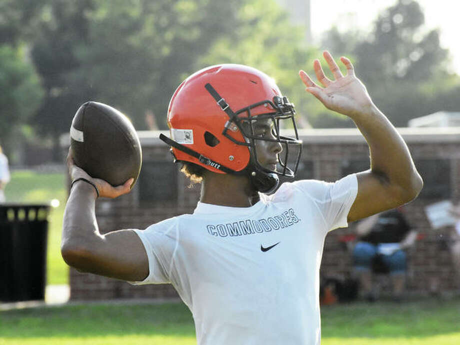 Edwardsville senior quarterback Kendall Abdur-Rahman throws a pass during a 7-on-7 scrimmage against Belleville Althoff on Monday behind the high school. Photo:       Matthew Kamp | For The Telegraph