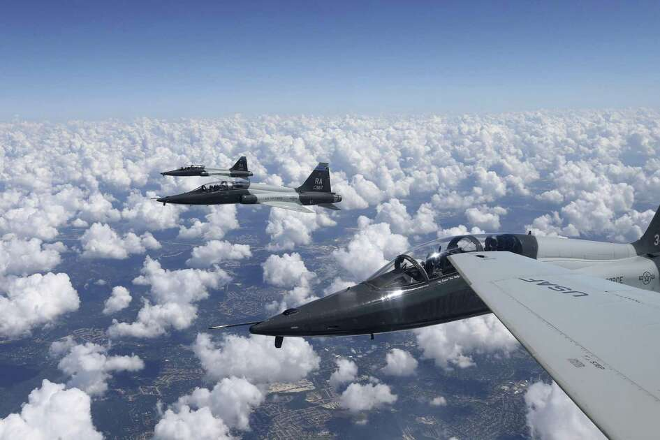T-38C Talon jets from the 435th Fighter Training Squadron return to base after a training mission in 2016.