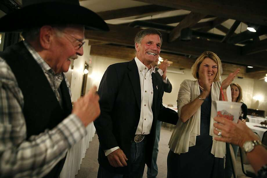 State Treasurer Mark Gordon celebrates his victory at a restaurant in Buffalo, Wyo. He won a fiercely contested GOP race. Photo: Josh Galemore / Associated Press