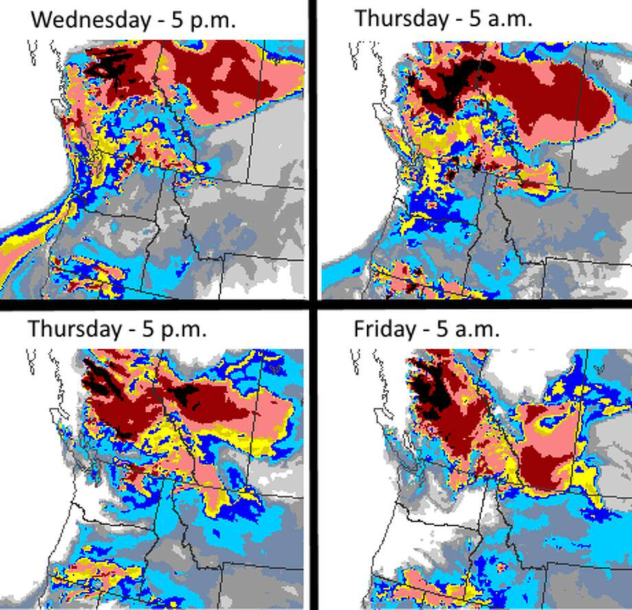 """Washington Dept. of Ecology shares Environment Canada smoke forecast for the next two days, stating: """"Their 'Firework' model does a good job of accounting for Canadian smoke."""" Photo: Environment Canada"""