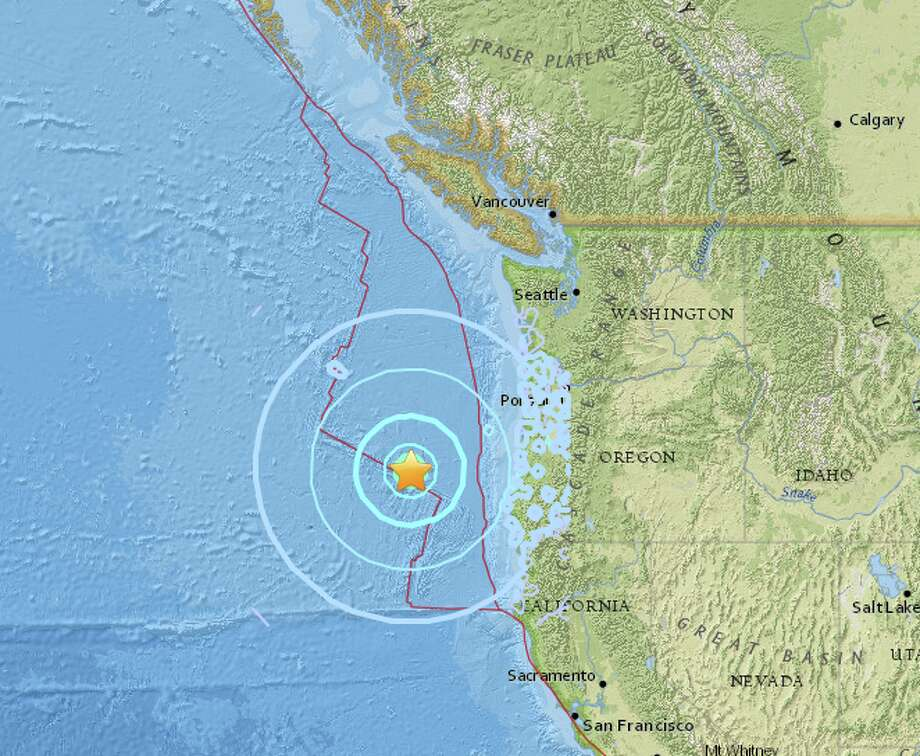 A preliminary magnitude 6.2 earthquake struck early Wednesday morning off the coast of south-central Oregon, the United States Geological Survey reported. Photo: USGS
