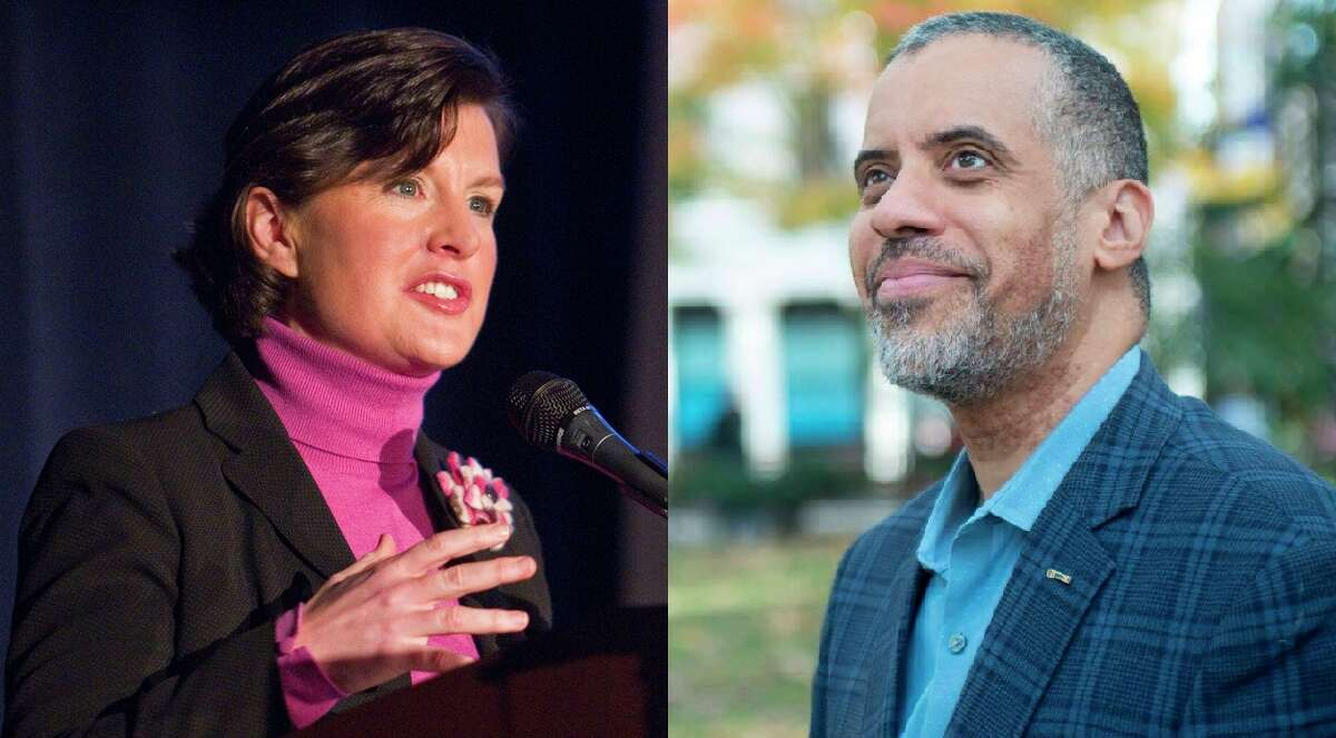 Stephanie Miner (left) and Larry Sharpe (right) are third-party candidates for governor in New York. They submitted petitions this week to secure a spot on the ballot in November. (provided)
