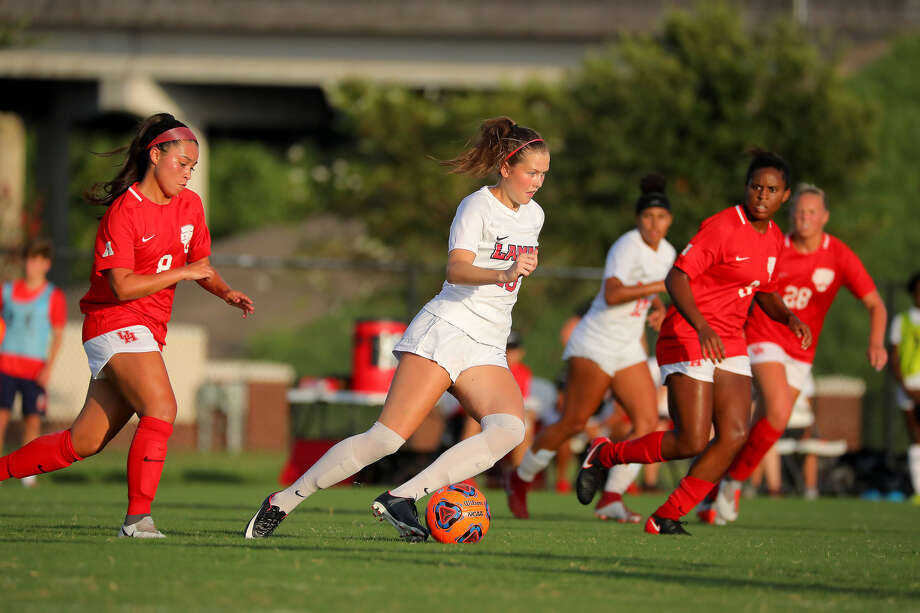 Lamar women's soccer freshman Anna Loftus dribbles the ball during a home game against Houston. (Photo provided by Lamar athletics.) Photo: Lamar Athletics