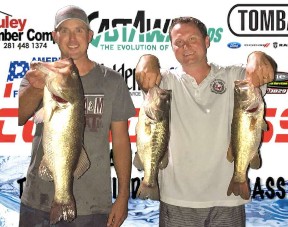 Brad Lanier and Matt Beasley won the CONROEBASS Tuesday Tournament with a stringer total weight of 11.73 pounds. Photo: Conroe Bass