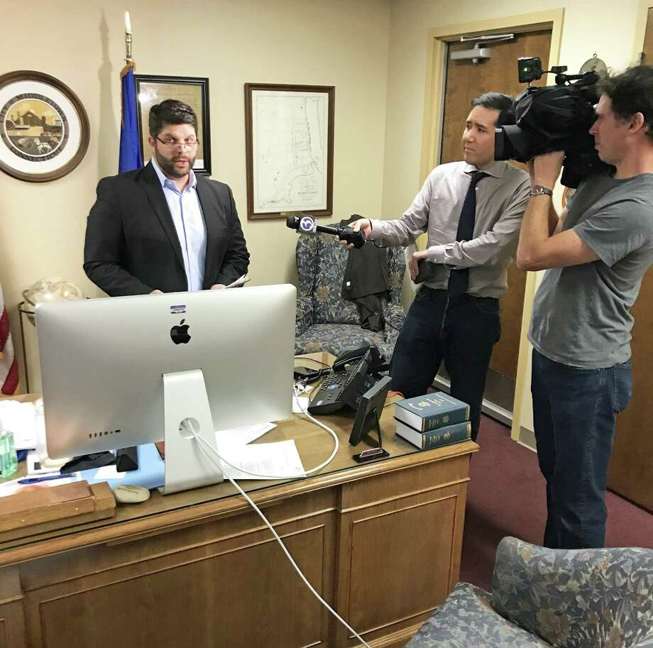 Middletown Mayor Dan Drew speaks to reporters in his office immediately following the Common Council meeting Aug. 13. That night, Attorney Margaret Mason read the report of her investigation into alleged gender bias involving a city Board of Education member who said he intervened in her raise. Photo: File Photo