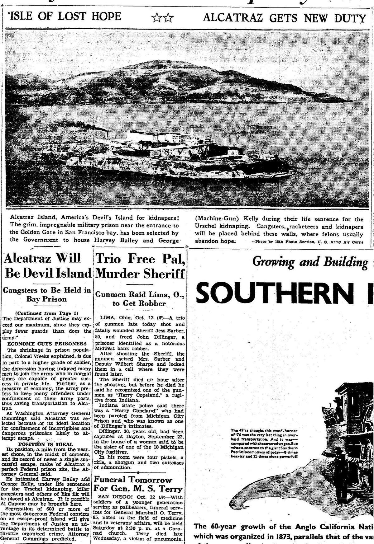 On October 13, 1933 the Chronicle reported on the announcement that the former U.S. Army disciplinary barricades on Alcatraz island would be turned into a federal prison.
