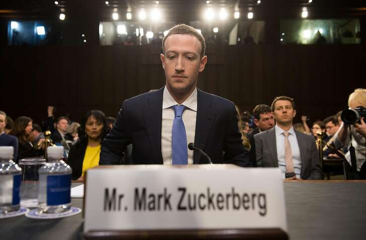 Facebook founder and CEO Mark Zuckerberg testifying before the Senate Commerce, Science and Transportation Committee and Senate Judiciary Committee joint hearing about Facebook in April� 2018.