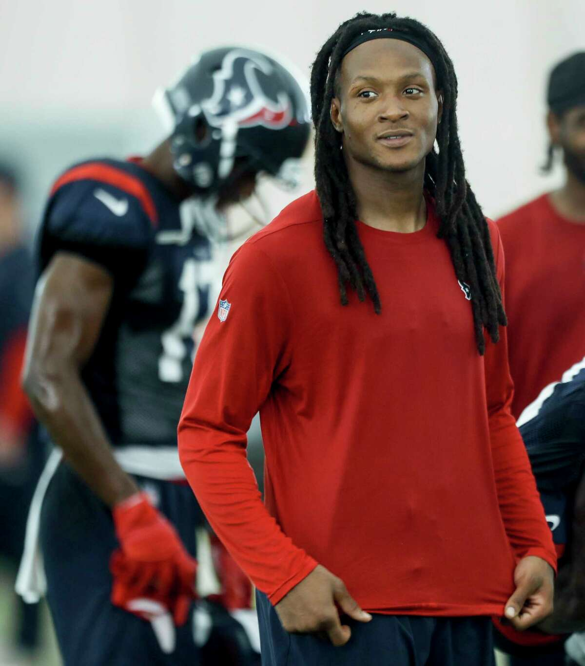 Houston Texans wide receiver DeAndre Hopkins leaves the practice field at the end of the day's workout during training camp at the Methodist Training Center on Wednesday, Aug. 22, 2018, in Houston.