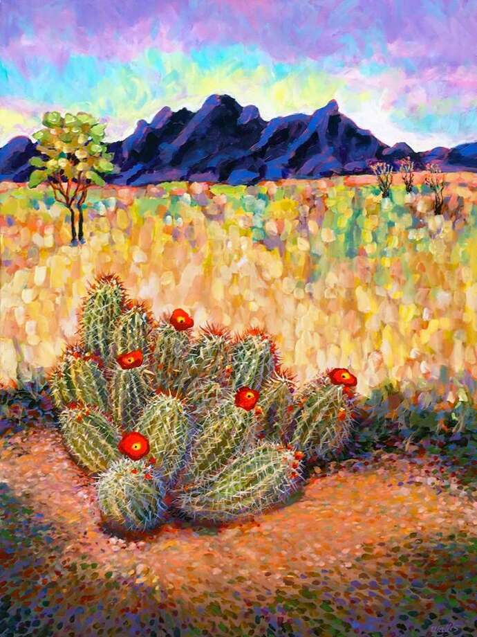 "An oil painting by Charles Wallis titled ""New Mexico Pasture with Opuntia Cactus."" Charles will be the feature artist throughout September at the Gallery at the Madeley Building in downtown Conroe. Photo: Courtesy Photo"