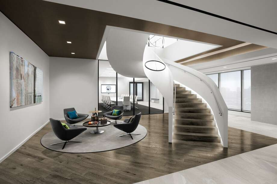 The landing area of a new stairwell connecting the 41st and 42nd floors of 2929 Allen Parkway at Musket's new headquarters fosters collaboration between different groups. Musket is a sister company to Loves Travel Stops. Photo: Abel Design Group