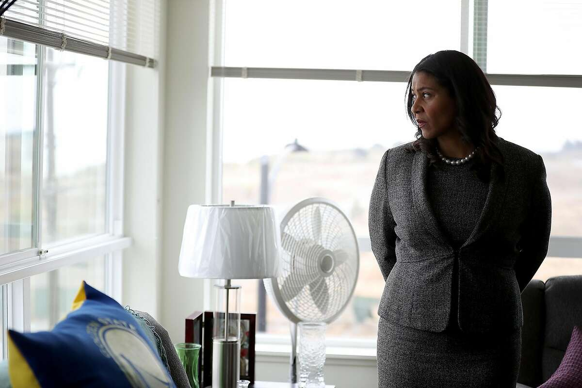 SAN FRANCISCO, CA - AUGUST 22: San Francisco mayor London Breed look on while visiting the Alice Griffith Apartments on August 22, 2018 in San Francisco, California. Lt. Gov. Gavin Newsom and San Francisco mayor London Breed toured a low-income housing complex. Newsom leads Republican gubernatorial candidate John Cox by an average of 23 percentage points in recent polls. (Photo by Justin Sullivan/Getty Images)