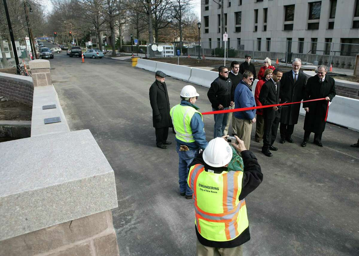 Then Alderman Greg Morehead, D-22, got the honors of cutting the ribbon on the Hillhouse Avenue Bridge as it opened for traffic in 2008. On the right is then-Mayor John DeStefano, Jr.