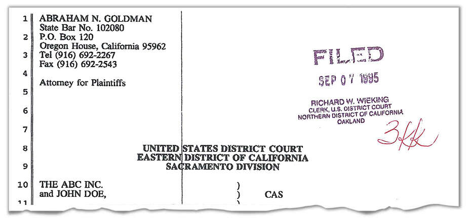"Abraham Goldman, the attorney for the Fellowship of Friends, filed this 1995 lawsuit in Oakland federal court complaining of sexual and religious discrimination against an unnamed ""chief minister and spiritual leader."" The suit concedes that the plaintiff had a sexual relationship with the defendant, who may have been Troy Buzbee, but says it was consensual."