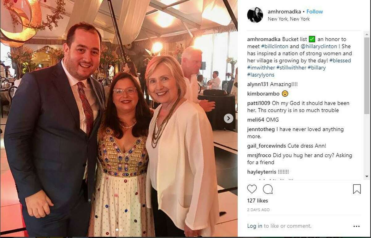 Photos from Instagram hashtagged #larseyLysons show the scenes from the lavish wedding held at the estate of Harvey Weinstein in Westport, Conn. Saturday, Aug. 18, 2018. Hillary and Bill Clinton along with other dignitaries were in attendance.