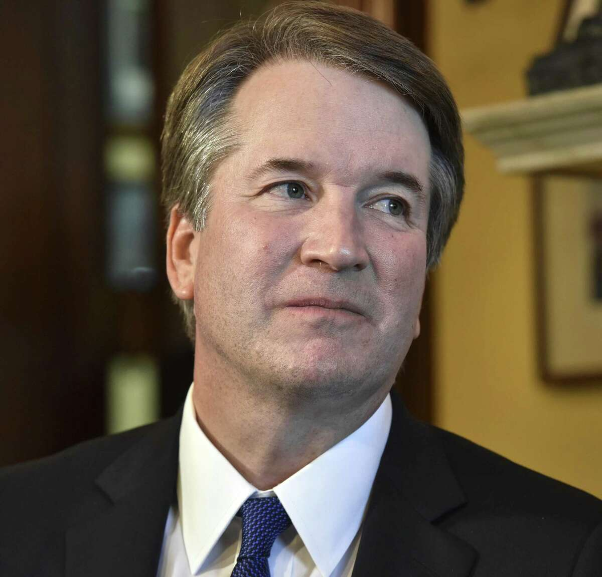Supreme Court nominee Brett Kavanaugh visits Republican senators at the Capitol on July 11. MUST CREDIT: Washington Post photo by Bill O'Leary