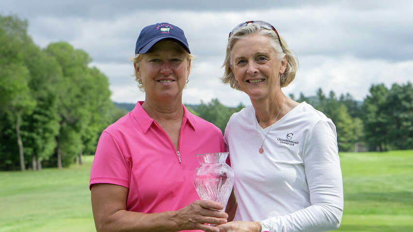 Kim Kaul of Gowanda Country Club, left,l and Sue Kahler of Ballston Spa Country Club shared runner-up honors after competing in a playoff at the NYS Women's Senior Amateur Championship on Aug. 22, 2018.