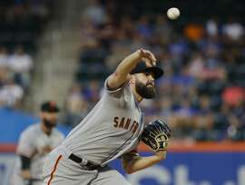 San Francisco Giants' Casey Kelly delivers a pitch during the first inning of the team's baseball game against the New York Mets on Wednesday, Aug. 22, 2018, in New York. (AP Photo/Frank Franklin II)