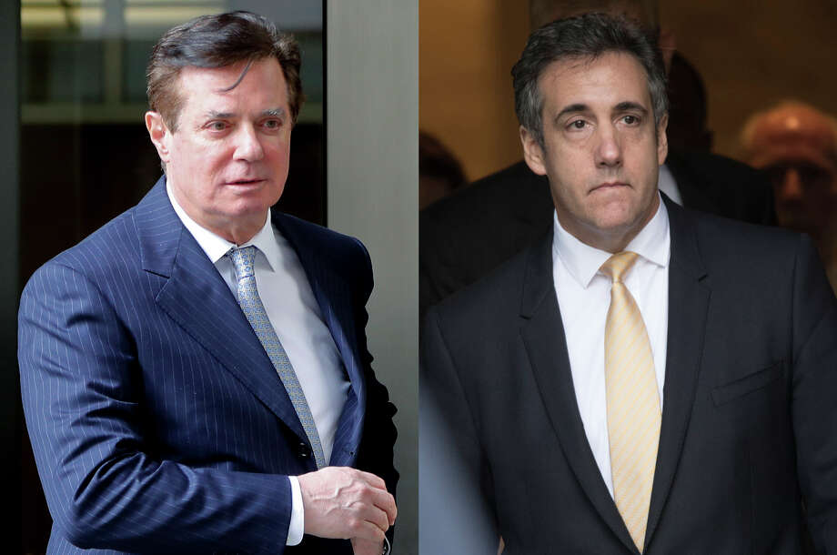 The conviction this week of Paul Manafort (left) and guilty plea from  Michael Cohen (right) has renewed efforts to amend New York's double jeopardy  laws so state criminal cases can still be brought against people  pardoned by President Donald J. Trump.(AP Photo/File) / AP