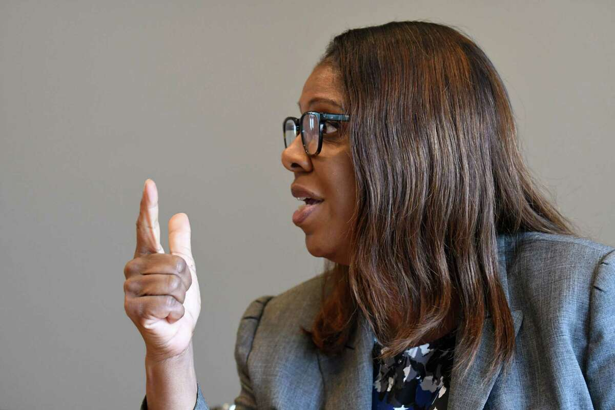 Letitia James, one of four Democrats seeking the nomination for state attorney general, speaks to the Times Union editorial board on Wednesday, Aug. 22, 2018, at Times Union in Colonie N.Y. (Will Waldron/Times Union)