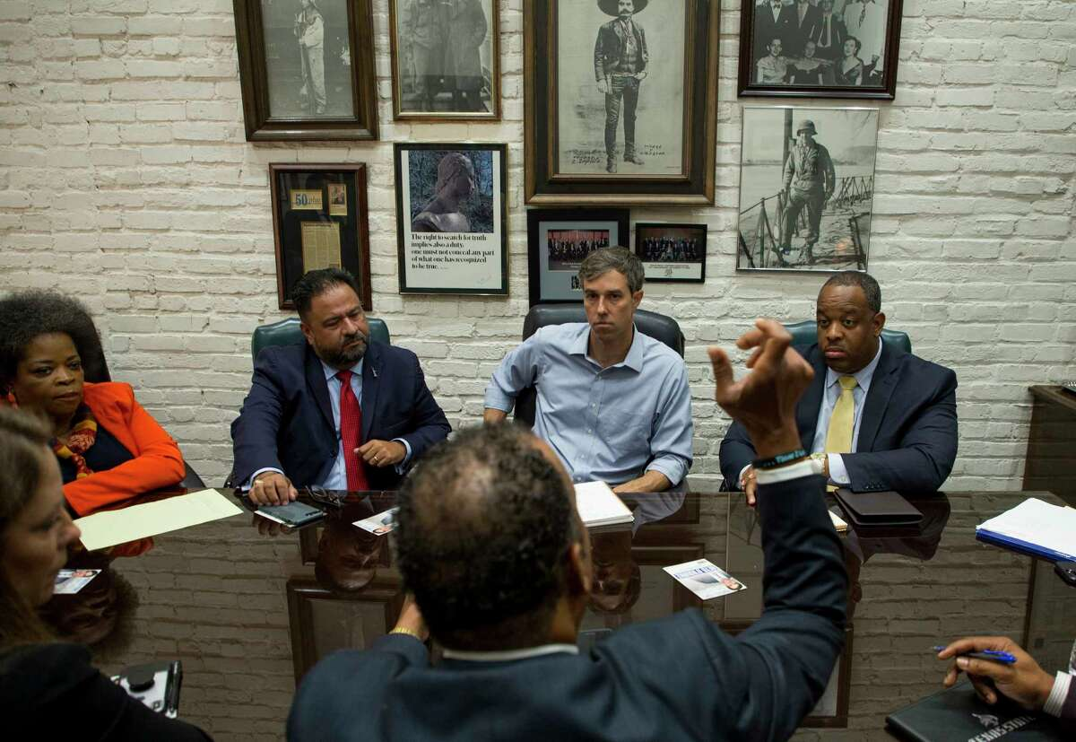 Senate candidate Beto O'Rourke, center, met with local lawyers and activists for a roundtable discussion regarding overall criminal justice reform. Wednesday, Aug. 22, 2018, in Houston.