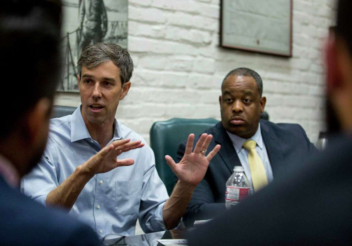 U.S. Senate candidate Beto O'Rourke speaks with local lawyers and activists about overall criminal justice reform. Wednesday, Aug. 22, 2018, in Houston.