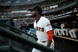 San Francisco Giants center fielder Andrew McCutchen (22) during an MLB game between the San Francisco Giants and Arizona Diamondbacks at AT&T Park, Tuesday, April 10, 2018, in San Francisco, Calif.