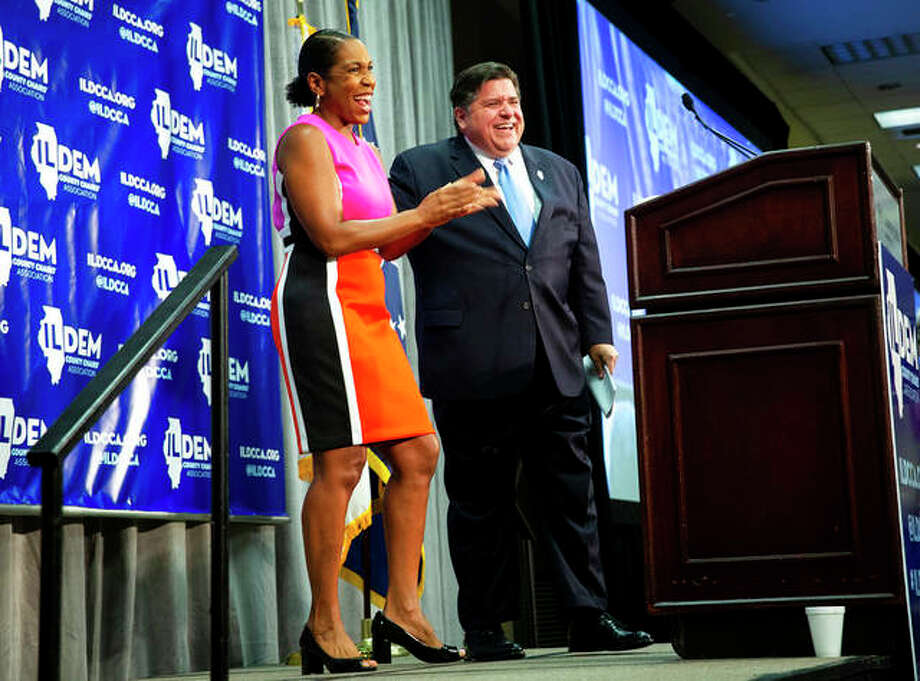 Illinois gubernatorial candidate J.B. Pritzker is introduced by Rep. Juliana Stratton, his running mate, at the Illinois Democratic County Chairs' Association brunch at the Crowne Plaza on Aug. 16 in Springfield.