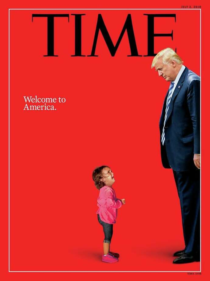 Time magazine's July 2 cover misleadingly presented a well-known photo of a child by Getty photographer John Moore to portray her as representative of children separated from their parents as the U.S.-Mexico border. In fact, the child, Yanela Sanchez, had not been separated from her mother. In comparison, the photo illustration created by Times Union artist Jeff Boyer used clearly generic images in an abstract way to illustrate a June 11 editorial on immigration. In a journalistic framework, Time's concept is akin to a reporter quoting a person out of the context of a news story or commentary. Photo: Time Magazine