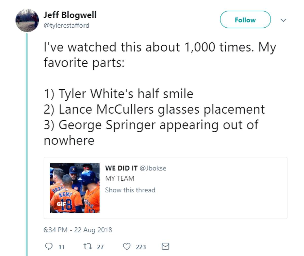 After a solo homerun from the Astros' Tyler White on Wednesday in Seattle, the team did a collective stare at a broadcast camera to the delight of the team's fans on Twitter.