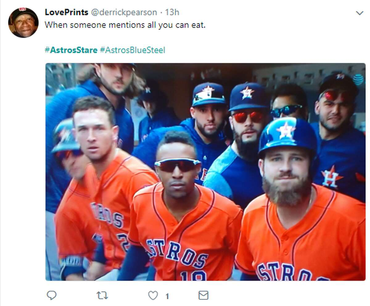 PHOTOS: Astros teammates create a new meme After a solo homerun from the Astros' Tyler White on Wednesday in Seattle, the team did a collective stare at a broadcast camera to the delight of the team's fans on Twitter. >>>See more takes on the Astros' newest meme...