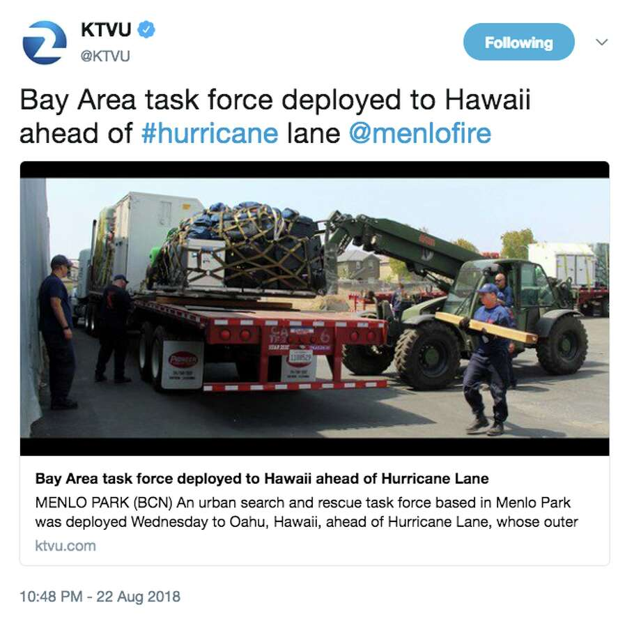 As Hurricane Lane churns dangerously close to Hawaii, Bay Area emergency workers are being deployed to the islands to help with the effort. Photo: Twitter Screen Grab
