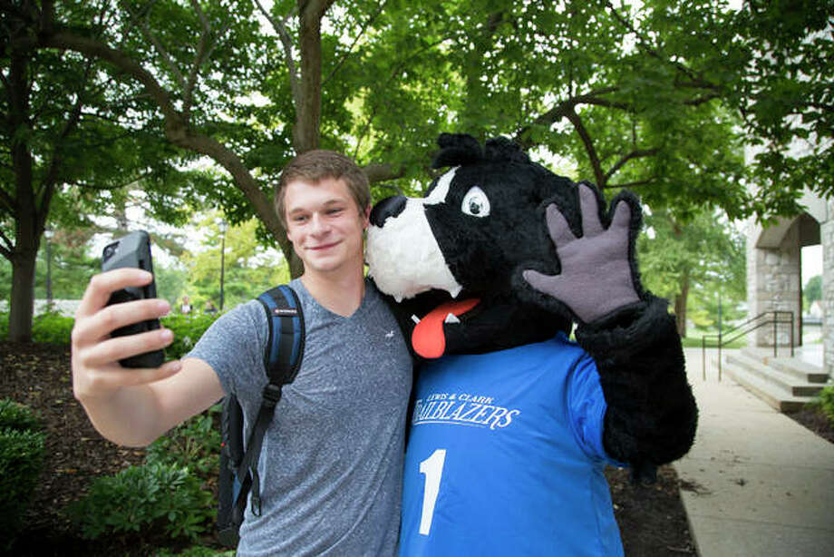 Lewis and Clark's new mascot, Blazer, poses with students on the first day of the fall semester. Photo: Jan Dona, L&C Media Services | For The Telegraph