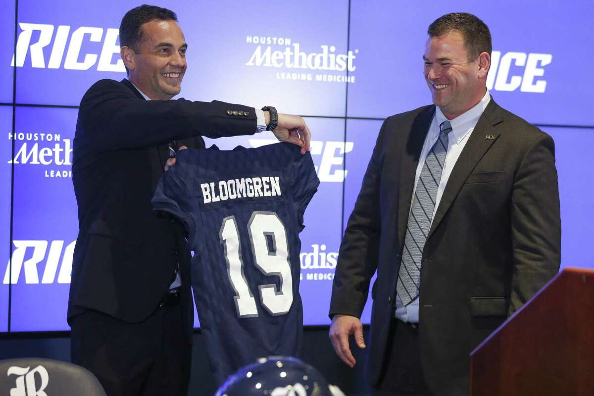 Rice University athletic director Joe Karlgaard, introducing Mike Bloomgren as football coach in December of 2017, said the football program is taking direction from the university on when and how it resumes play amid the coronavirus pandemic.