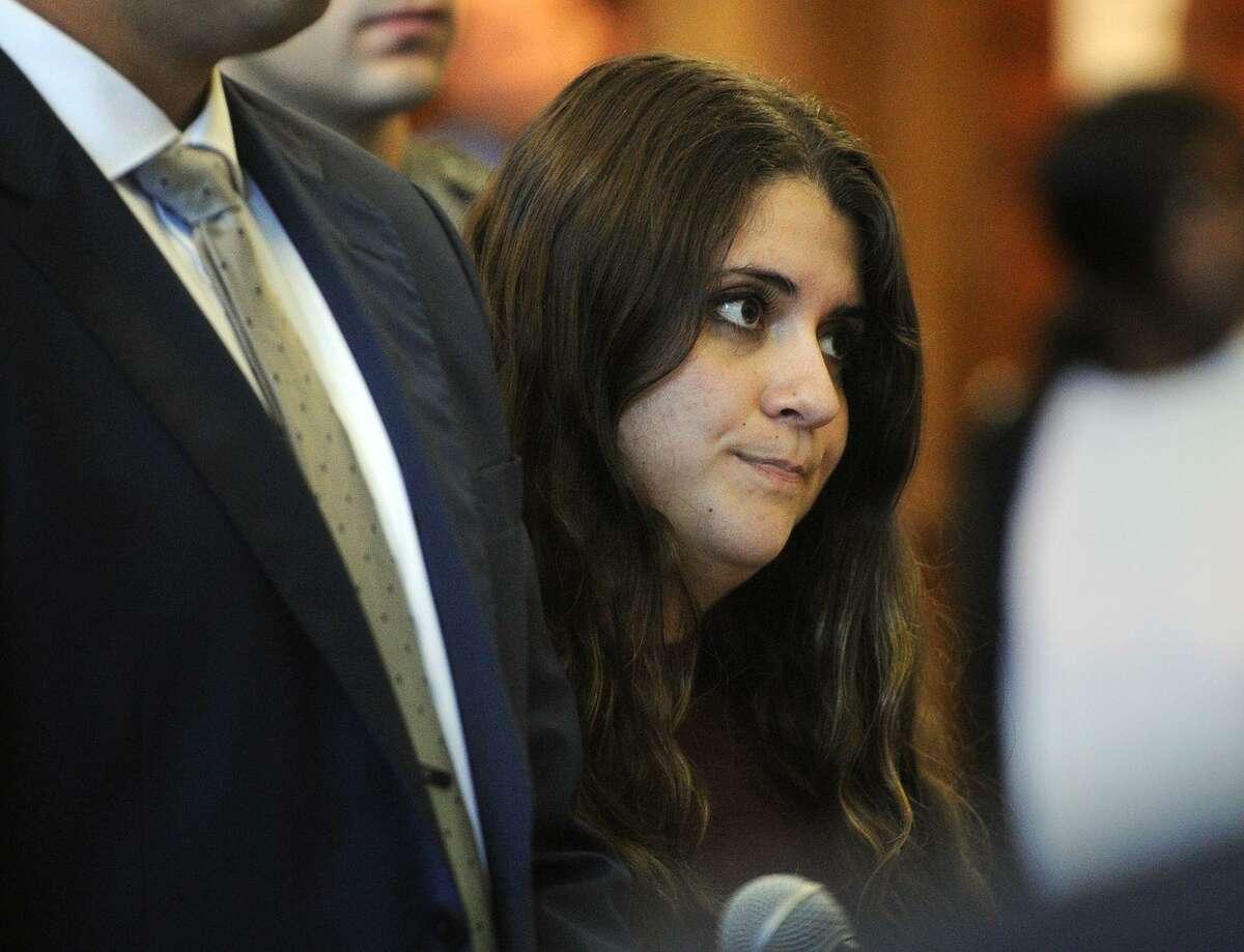 Nikki Yovino listens during sentencing in Superior Court in Bridgeport on Thursday.