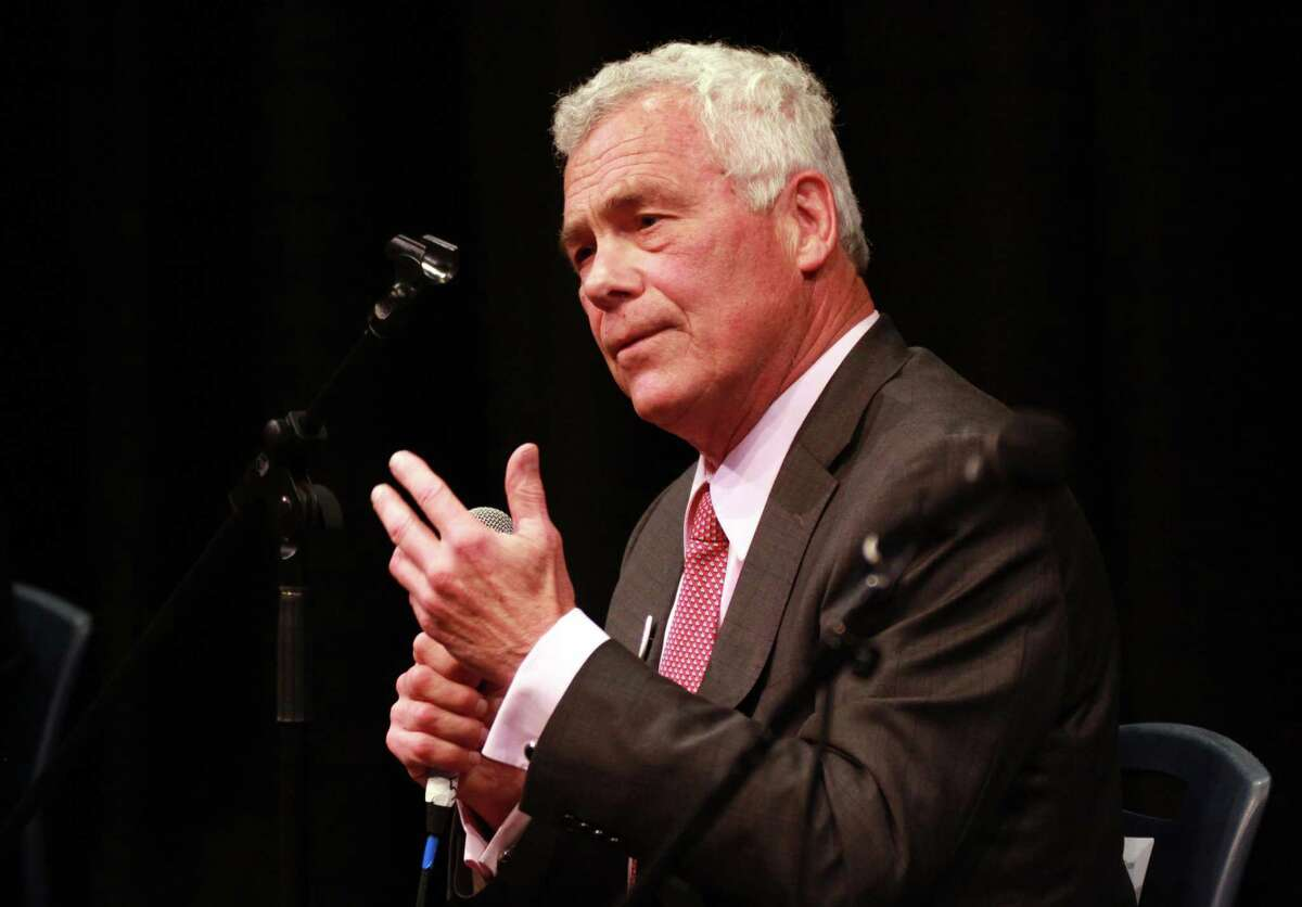 Gubernatorial candidate Oz Griebel speaks during the Create the Vote forum held at the Cooperative Atrs & Humanities High School in New Haven, Conn., on Tuesday July 31, 2018. The other candidates in attendance at the forum were Ned Lamont, Tim Herbst, Joe Ganim and David Stemerman.