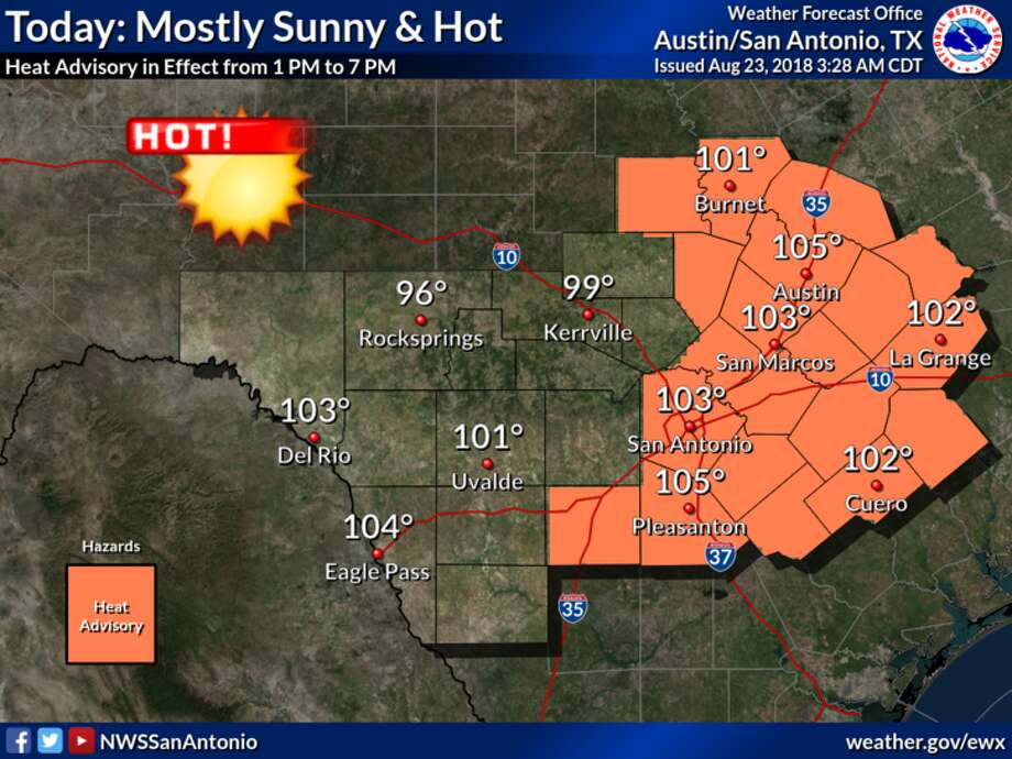The National Weather Service issued a heat advisory from 1 to 7 p.m.  for all of Central Texas, including areas along and east of U.S. 281,  which includes San Antonio and Austin areas as temperatures are expected  to reach 100 t0 106 degrees. Photo: Courtesy, National Weather Service