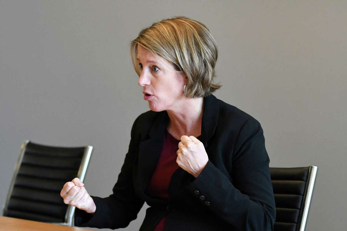 Zephyr Teachout, one of four Democrats seeking the nomination for state attorney general, speaks to the Times Union editorial board on Thursday, Aug. 23, 2018, at Times Union in Colonie N.Y. (Will Waldron/Times Union)