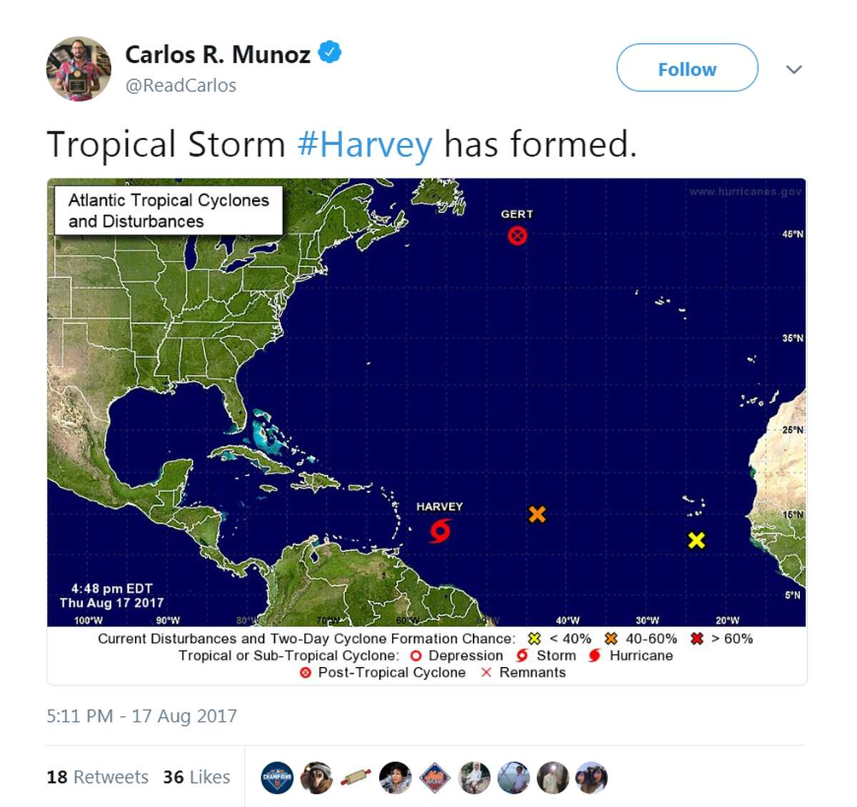 See how Hurricane Harvey was cataloged from start to end through the lens of social media Carlos R. Munoz, August 17