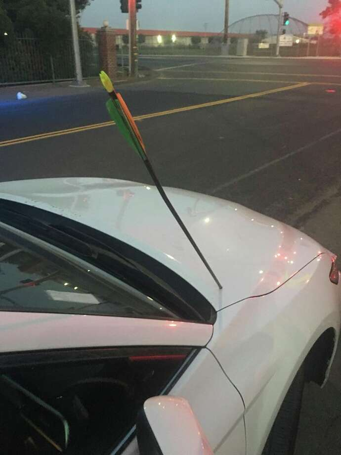 """A driver in Stockton was shocked when a """"thud"""" she heard turned out to be an arrow landing in the hood of her car. Photo: Stockton CHP"""