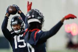 Houston Texans wide receiver Will Fuller (15) makes a catch during a drill at training camp at the Methodist Training Center on Thursday, Aug. 23, 2018, in Houston.