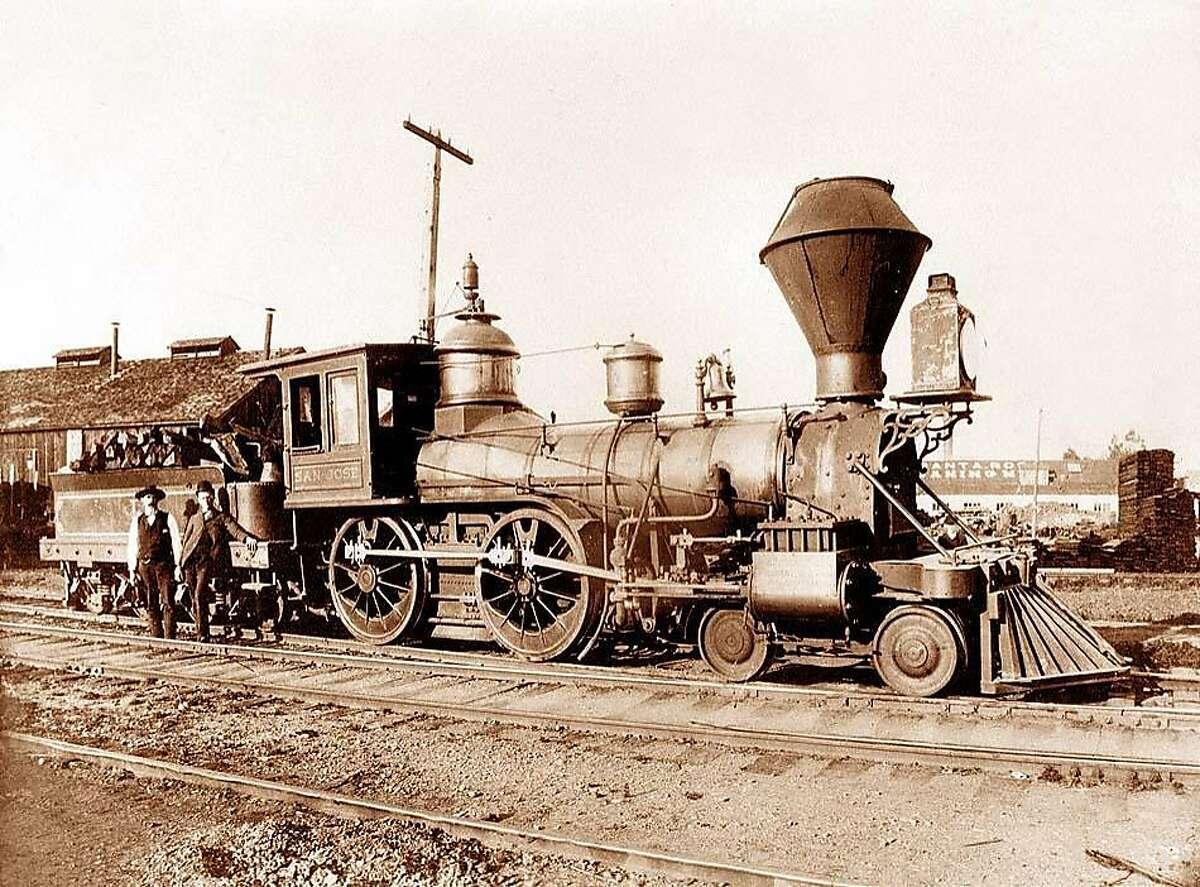 A train on the Northwestern Pacific Railroad circa 1870.
