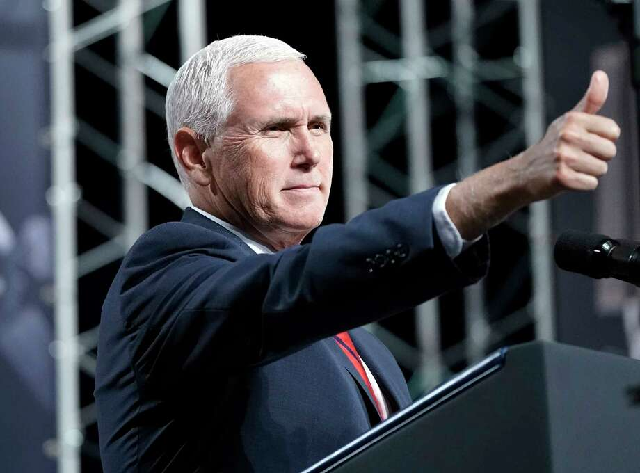 Vice President Mike Pence speaks during a visit to NASA's Johnson Space Center Thursday, Aug. 23, 2018, in Houston. (AP Photo/David J. Phillip) Photo: David J. Phillip, Associated Press / Copyright 2018 The Associated Press. All rights reserved