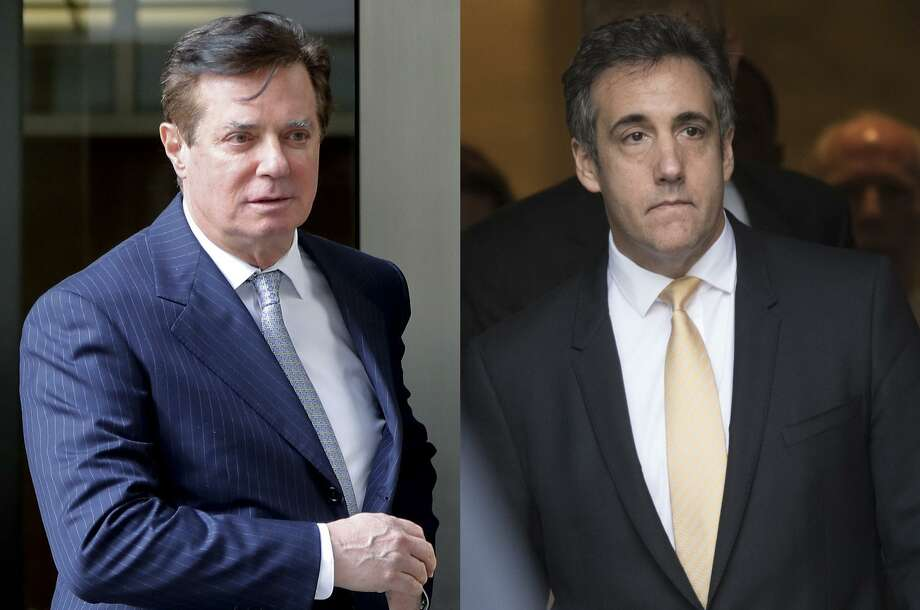 The conviction of Paul Manafort, left, validating the Special Counsel's investigation and the guilty plea of former Trump lawyer Cohen, right, implicated the president in a criminal act. Photo: /Associated Press / AP