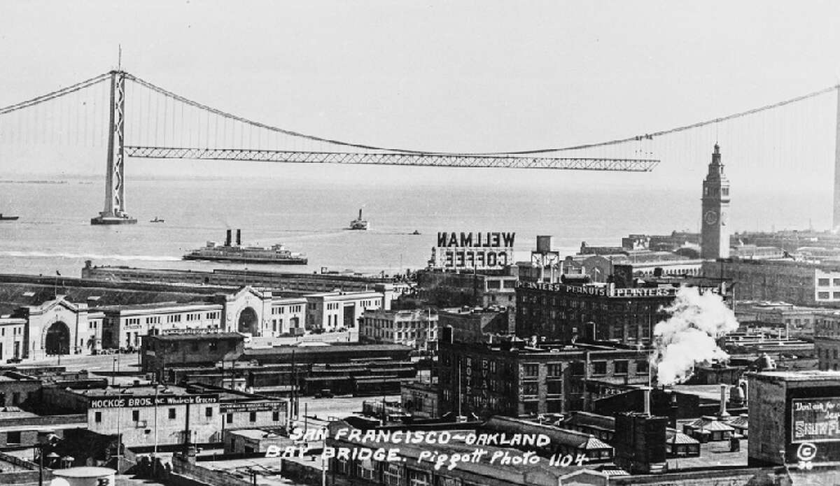 View of the Bay Bridge construction 1935