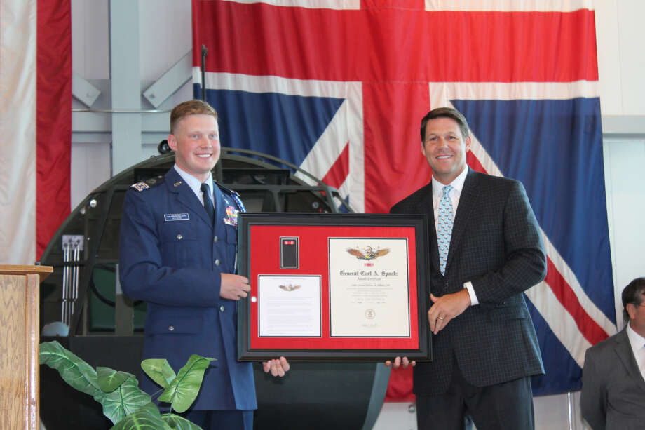 Congressman Jodey Arrington (TX-19) presented Andrew Allison with the Carl A. Spaatz award during a ceremony in Lubbock on Aug. 14. Photo: Courtesy Photo