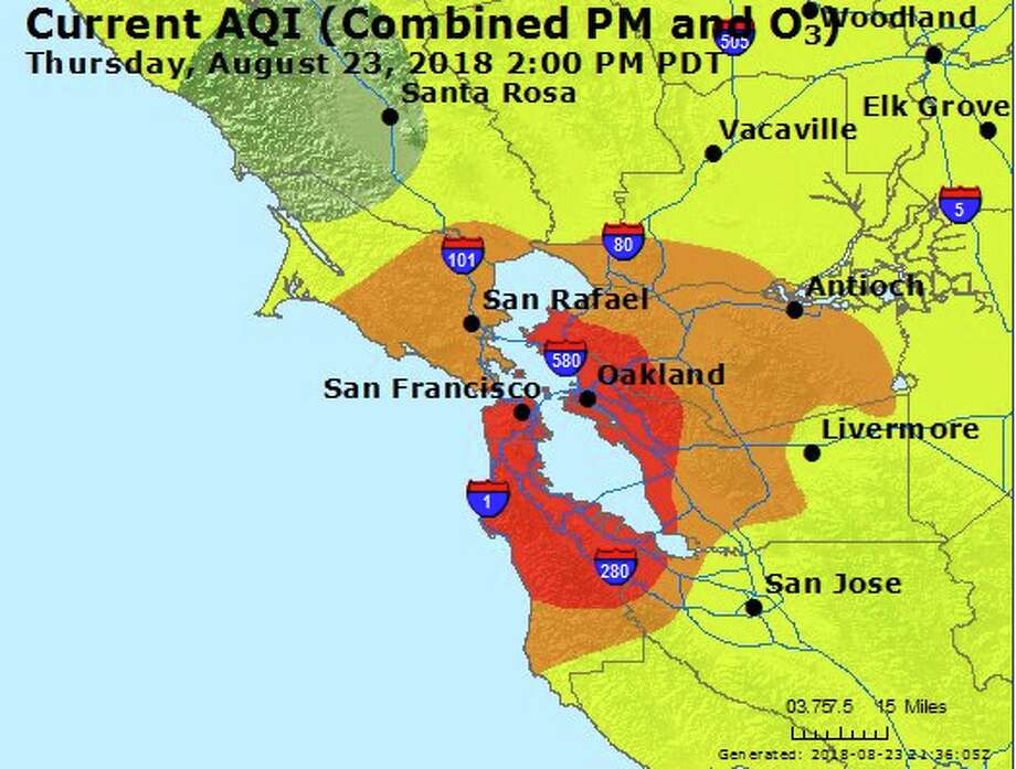 "The Air Quality Index for San Francisco today is 152, and therefore ""unhealthy."" Photo: AQI"