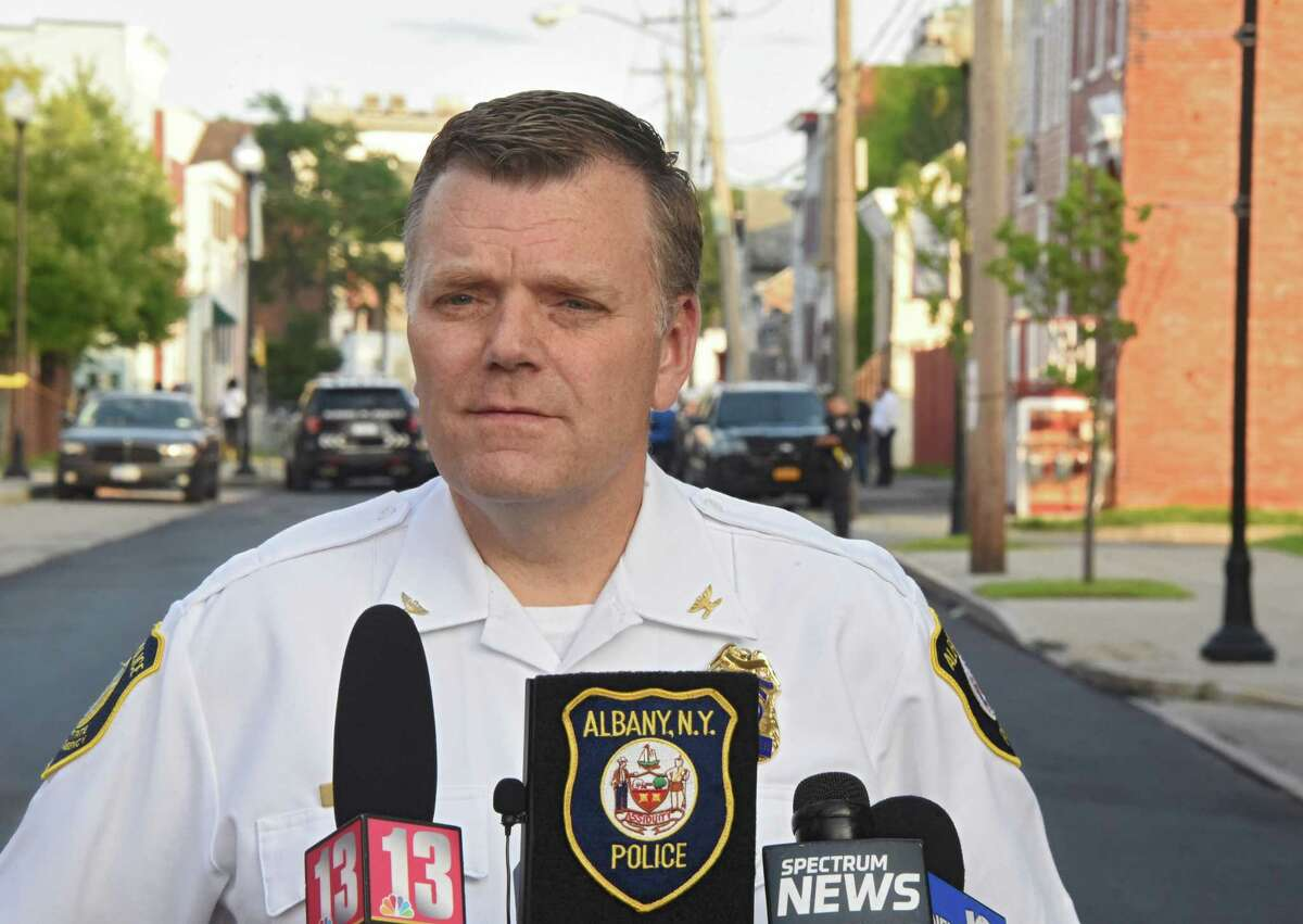 Acting police chief Mike Basile briefs the press at the scene of a police involved shooting on the 300 block of Elk St. on Monday, Aug. 20, 2018 in Albany, N.Y. (Lori Van Buren/Times Union)
