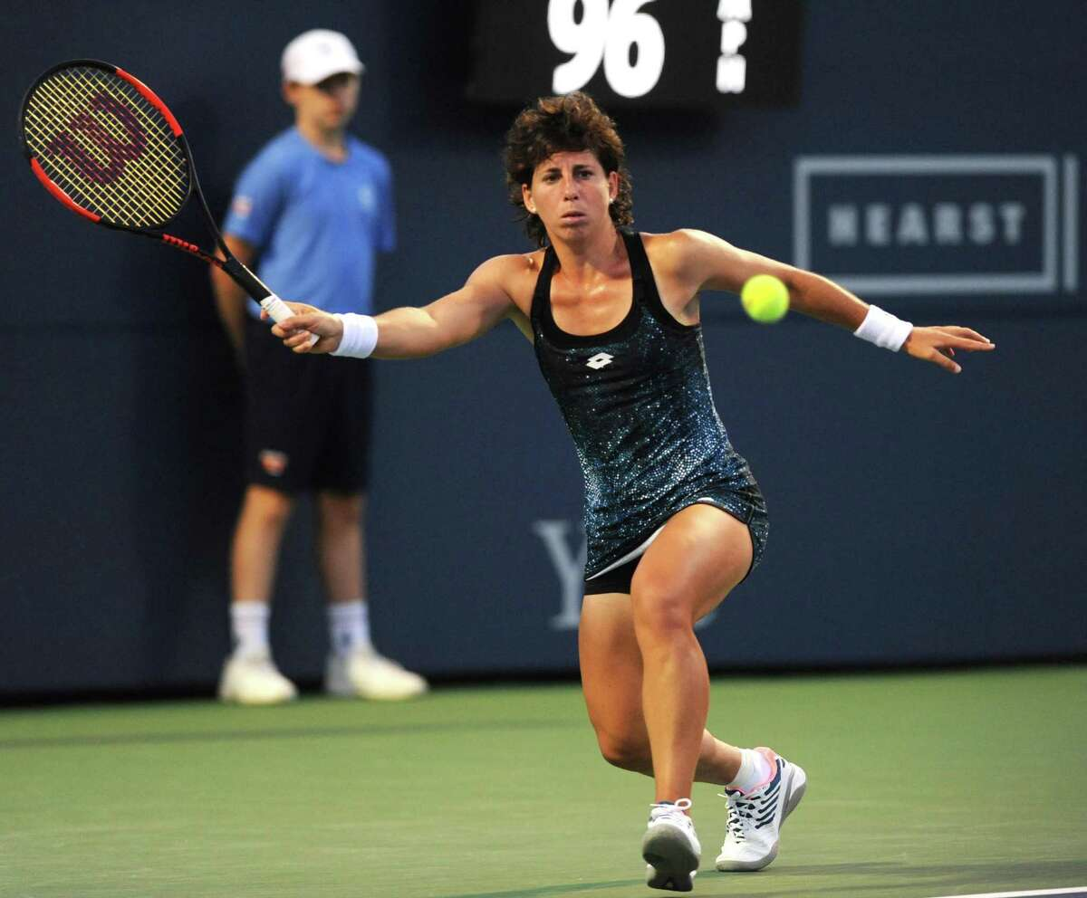 Carla Suarez Navarro, of Spain, plays in her quarterfinal match against Petra Kvitova, of Czech Republic, at the 2018 Connecticut Open at the Connecticut Tennis Center at Yale in New Haven, Conn. Thursday, Aug. 23 2018. Navarro won the first set 6-3 before Kvitova retired to give Navarro the win.