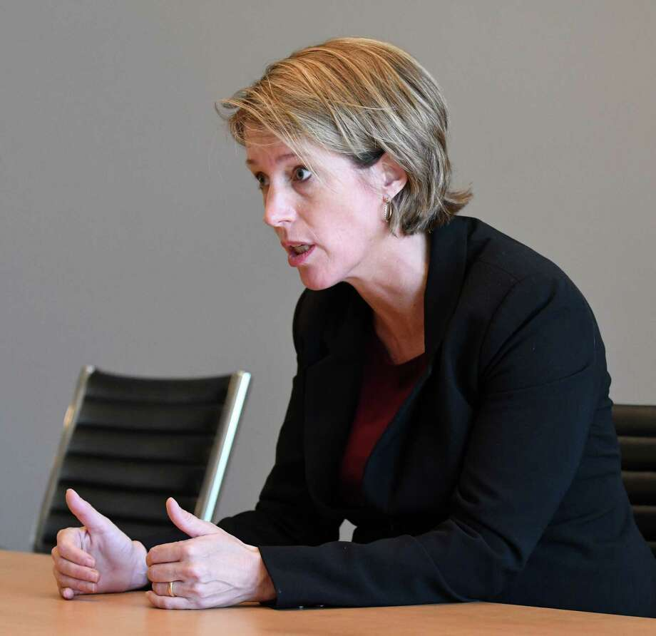 Zephyr Teachout, one of four Democrats seeking the nomination for state attorney general, speaks to the Times Union editorial board on Thursday, Aug. 23, 2018, at Times Union in Colonie N.Y. (Will Waldron/Times Union) Photo: Will Waldron / 20044597A