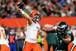 CLEVELAND, OH - AUGUST 23: Quarterback Baker Mayfield #6 of the Cleveland Browns passes during the first half of a preseason game against the Philadelphia Eagles at FirstEnergy Stadium on August 23, 2018 in Cleveland, Ohio.